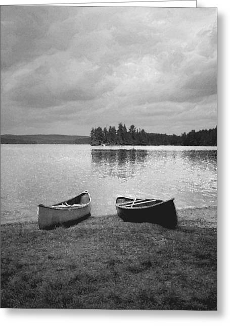 Canoes - Canisbay Lake - B N W Greeting Card