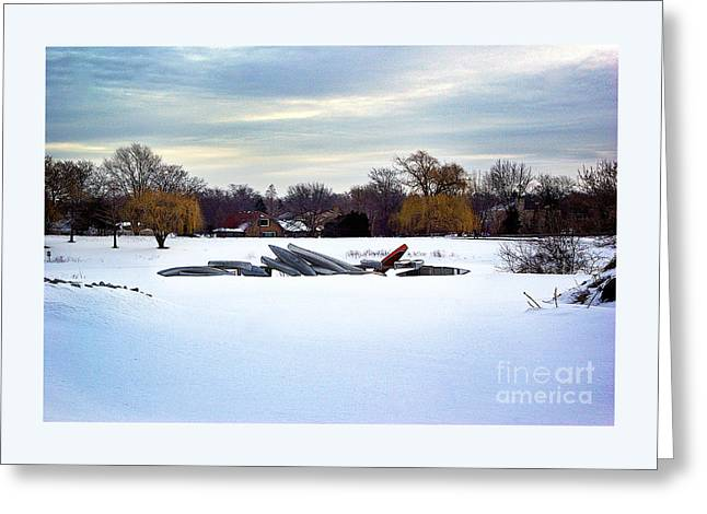 Canoes In The Snow Greeting Card