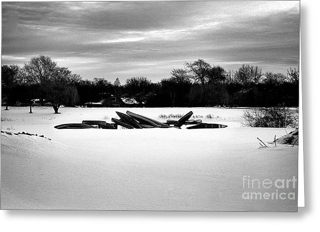 Canoes In The Snow - Monochrome Greeting Card