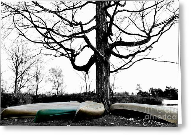 Canoes In Winter Greeting Card