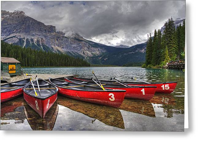 Canoes On Emerald Lake Greeting Card