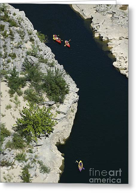 Canoes On The River Ardeche In Southern France Greeting Card