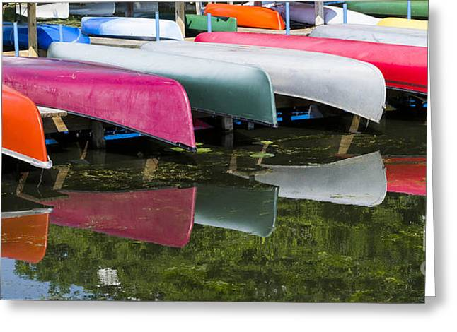 canoes - Lake Wingra - Madison  Greeting Card by Steven Ralser