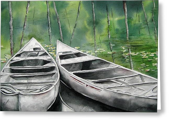 Canoes To Go Greeting Card by Mary McCullah