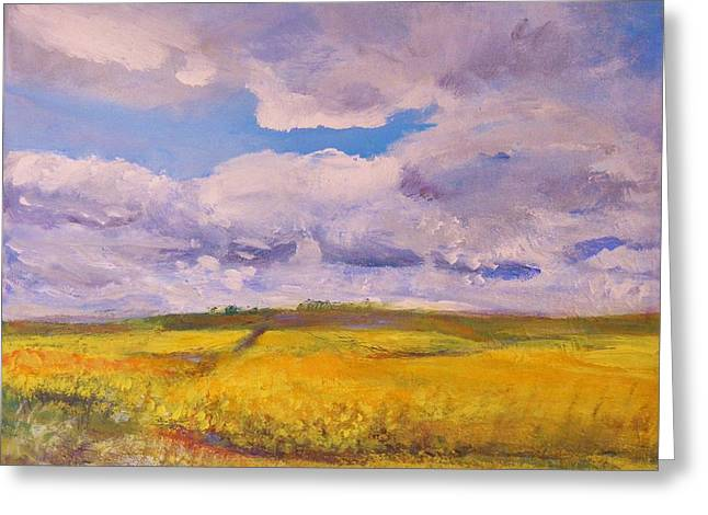 Canola And Clouds Greeting Card