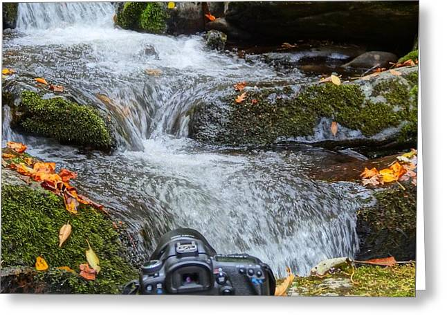 Waterfall And Camera Greeting Card