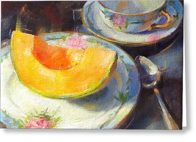 Cantalope On Fruit Plate Greeting Card