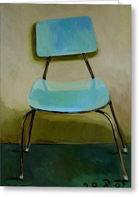 Canteen Chair Greeting Card by Raimonda Jatkeviciute-Kasparaviciene