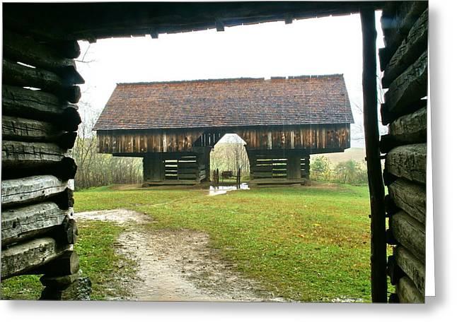 Cantilever Barn In Smokey Mtn Natl Pk Greeting Card