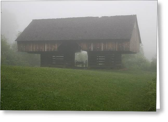 Cantilever Barn In The Fog Greeting Card by Sam Jenkins
