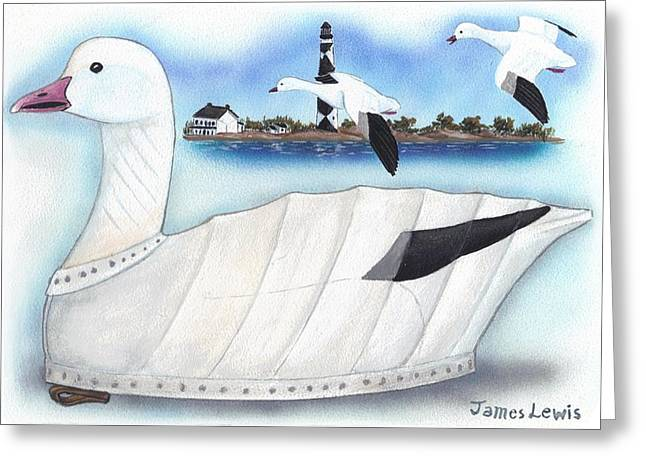 Canvas Snow Goose Decoy Greeting Card by James Lewis