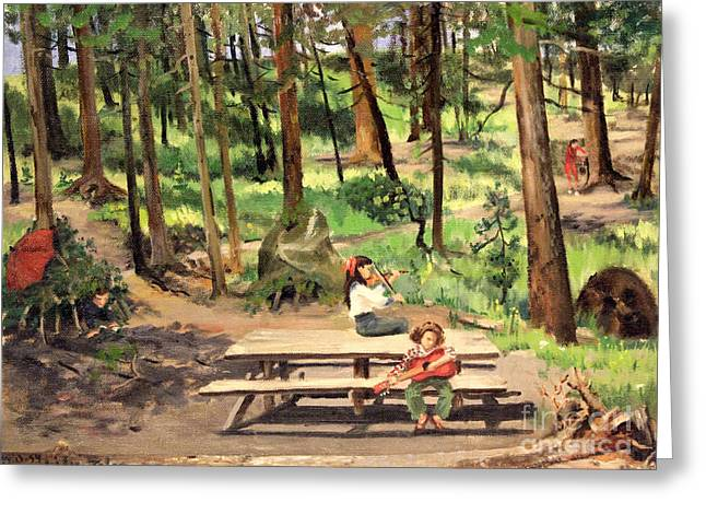 Canyon Campground - Yellowstone  1950's Greeting Card