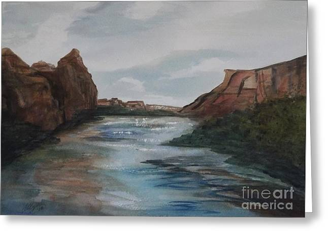 Greeting Card featuring the painting Canyon De Chelly by Ellen Levinson