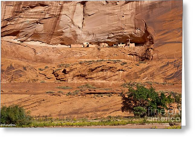 Canyon Dechelly Whitehouse Ruins Greeting Card by Bob and Nadine Johnston
