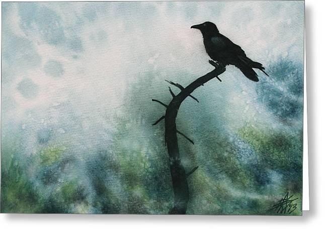 Canyon Denizen Or Torrey Pine Remains With Raven Greeting Card