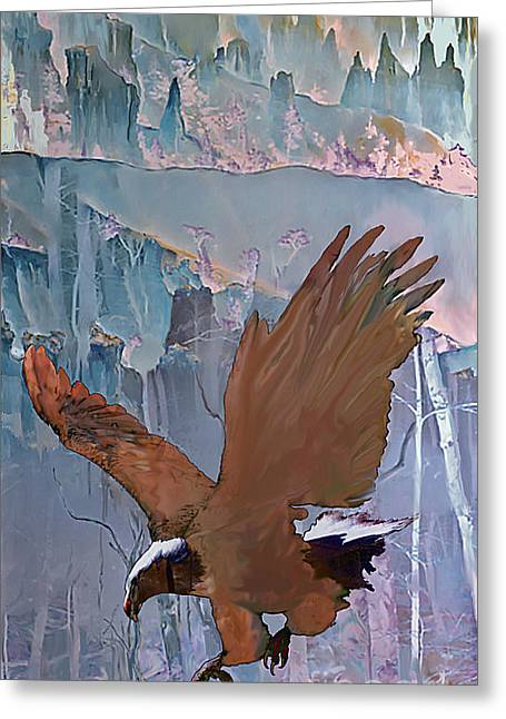 Greeting Card featuring the digital art Canyon Flight by Ursula Freer