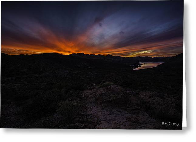 Canyon Lake Sunset Greeting Card by Bill Cantey