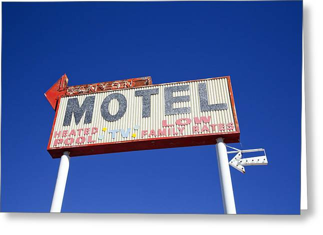 Canyon Motel Sign Greeting Card