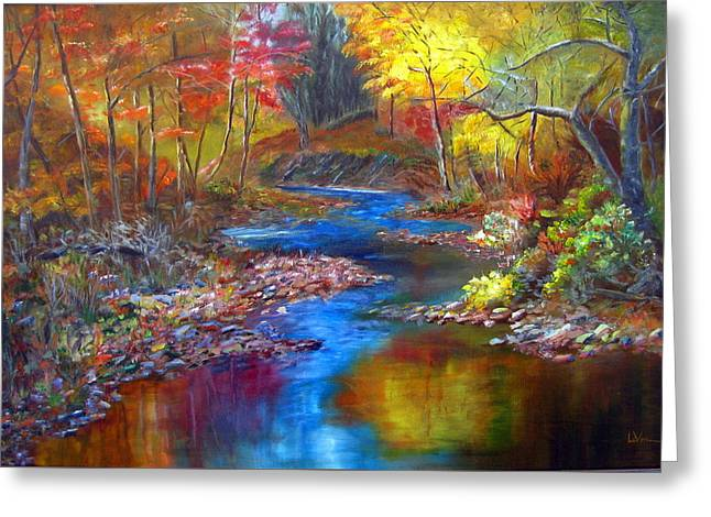 Greeting Card featuring the painting Canyon River by LaVonne Hand