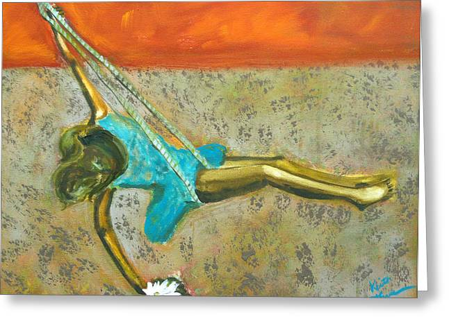 Greeting Card featuring the painting Canyon Road Sculpture by Keith Thue