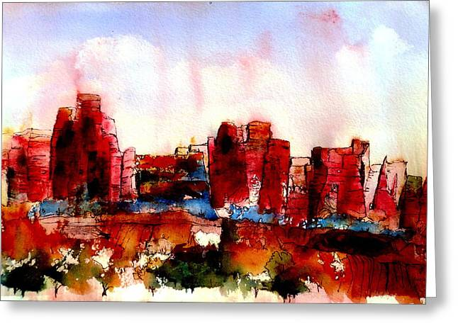 Greeting Card featuring the painting Canyonlands 02 by Anne Duke