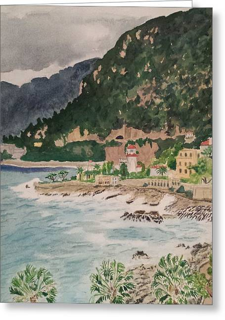Cap D'ail During The Storm Greeting Card