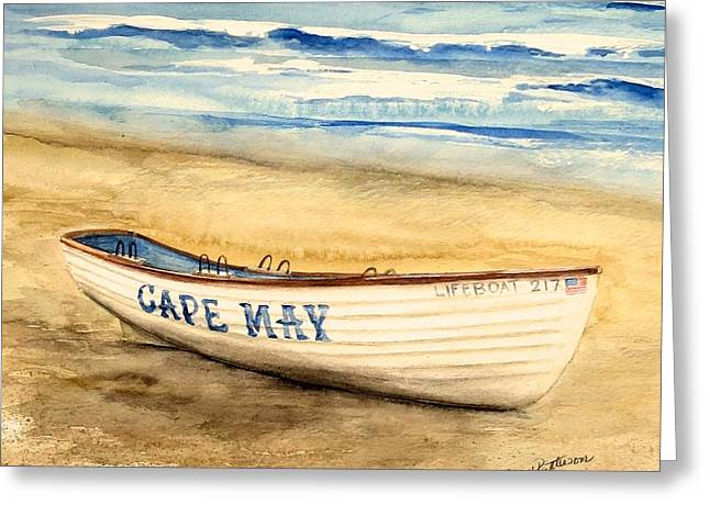 Cape May Lifeguard Boat - 2 Greeting Card