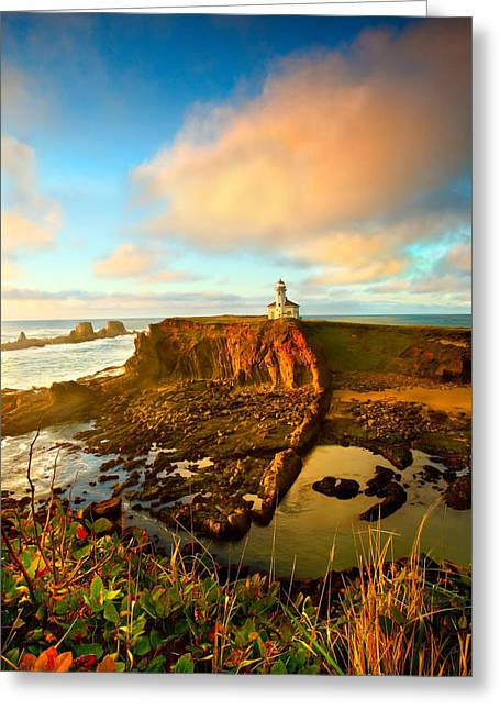 Cape Arrago Lighthouse1 Greeting Card by Joe Klune