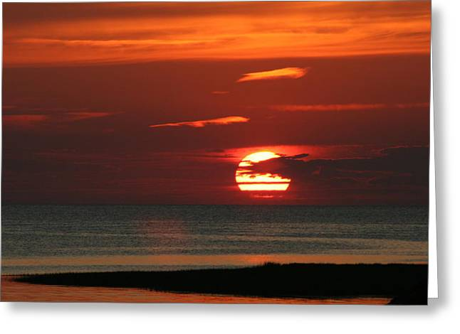 Cape Cod Bay Sunset Greeting Card by Jim Gillen