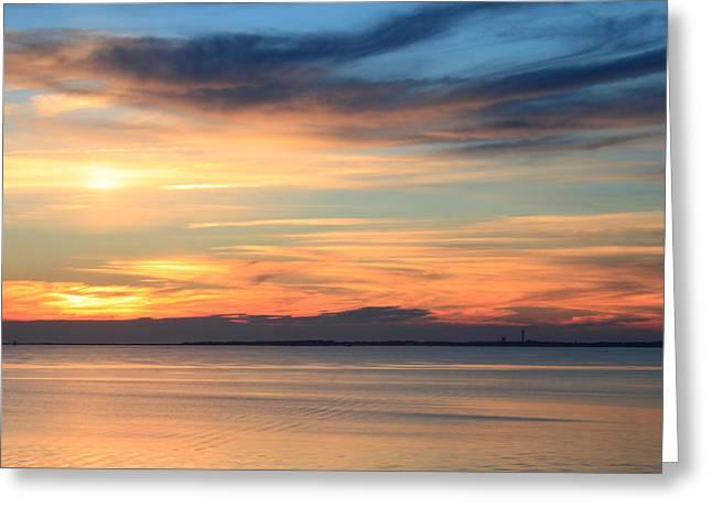 Cape Cod Bay Sunset Greeting Card by John Burk