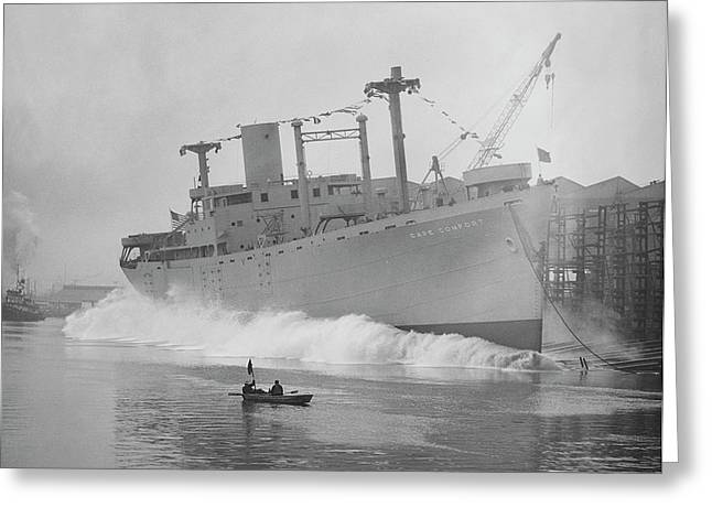 Cape Comfort Cargo Ship Launch Greeting Card by Hagley Museum And Archive