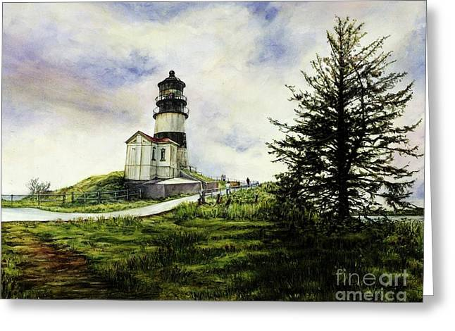 Cape Disappointment Lighthouse On The Washington Coast Greeting Card