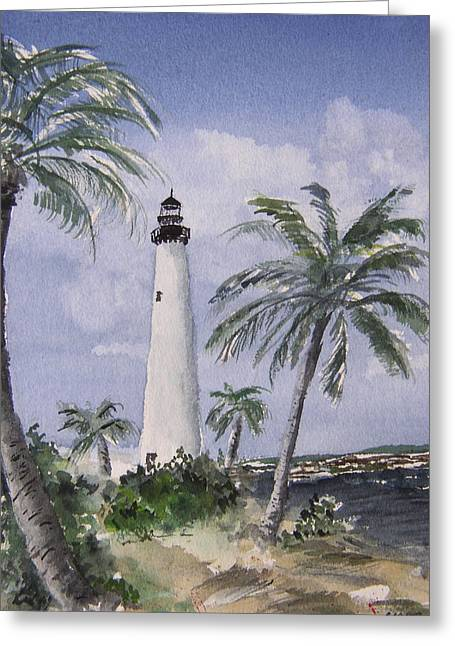 Cape Florida Light Greeting Card by Stephanie Sodel