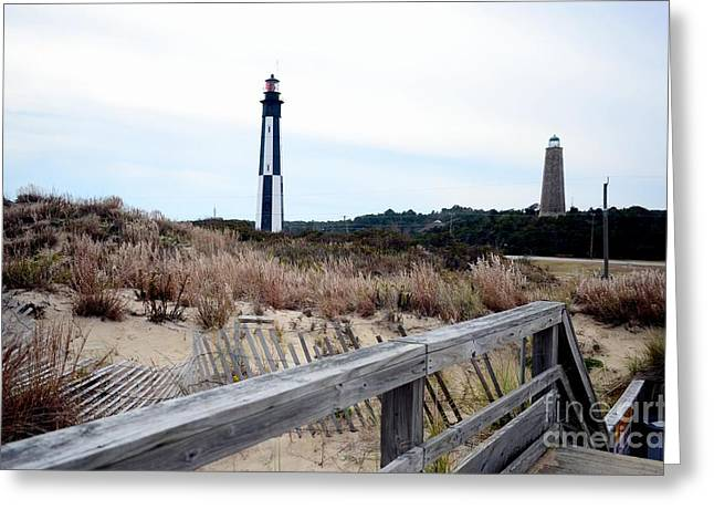 Cape Henry Light House Greeting Card by Mike Baltzgar