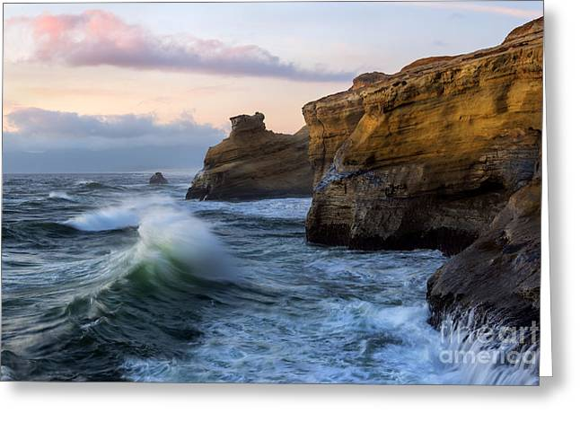 Cape Kiwanda Sunset Greeting Card by Mike Dawson