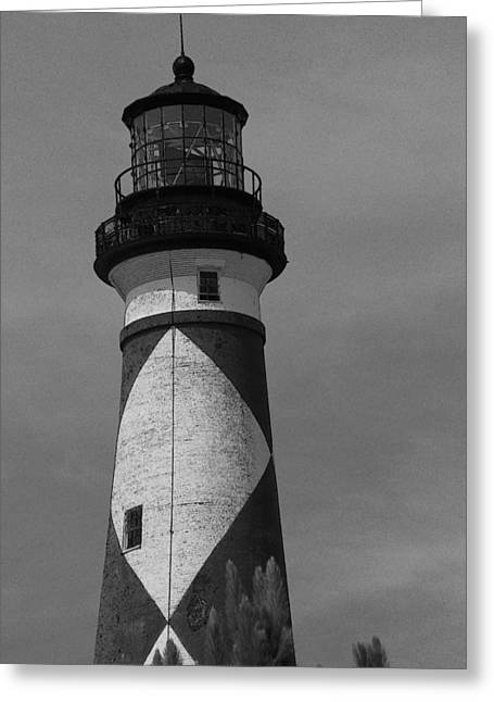 Cape Lookout Light Black And White 2  Greeting Card