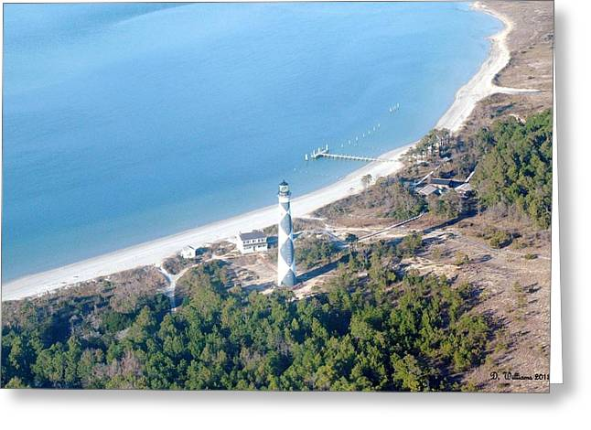 Cape Lookout Lighthouse Aerial View Greeting Card