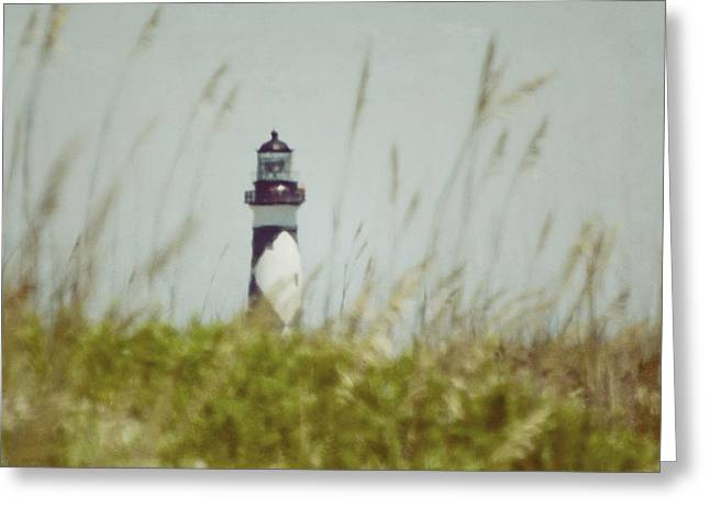 Greeting Card featuring the photograph Cape Lookout Lighthouse - Vintage by Kerri Farley