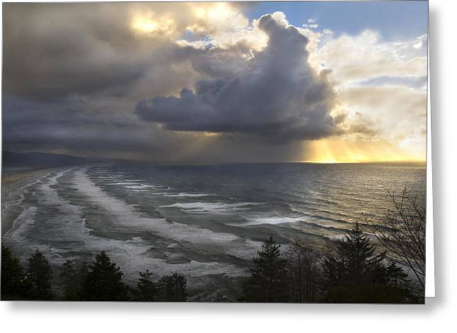 Greeting Card featuring the photograph Sunset At Cape Lookout Oregon Coast by Yulia Kazansky