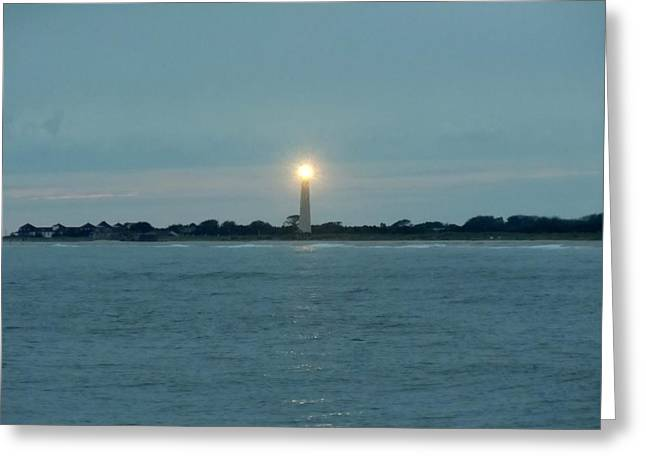 Greeting Card featuring the photograph Cape May Beacon by Ed Sweeney