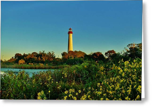 Cape May Lighthouse Above The Flowers Greeting Card