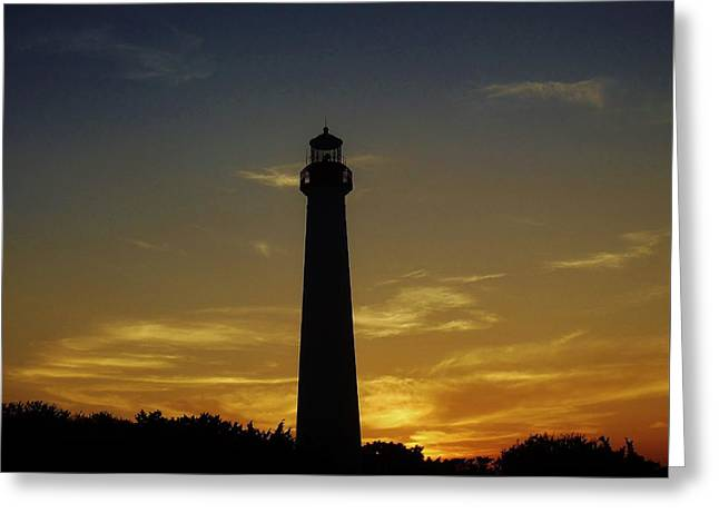 Greeting Card featuring the photograph Cape May Lighthouse At Sunset by Ed Sweeney
