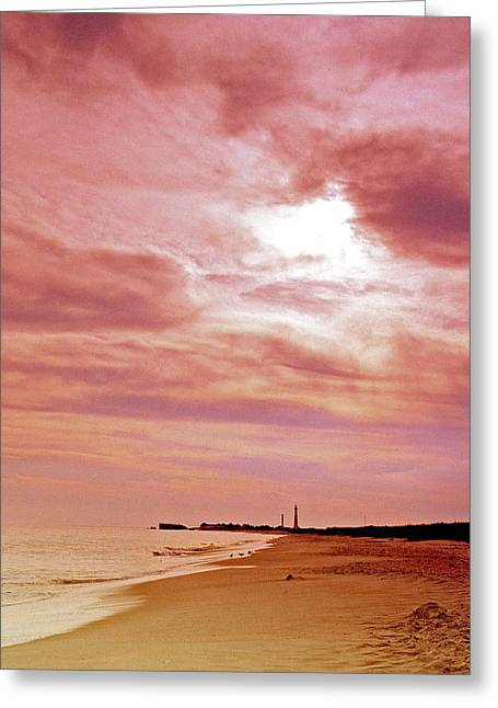 Cape May New Jersey Sunset With Lighthouse In The Distance Greeting Card