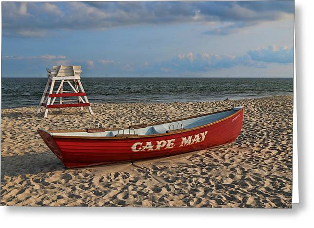 Cape May N J Rescue Boat Greeting Card