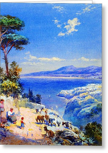 Cape Miseno With Castelamane Beyond Greeting Card by Celestial Images