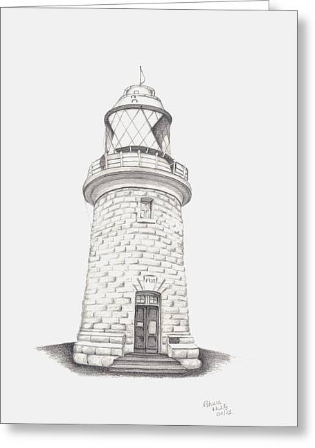 Greeting Card featuring the drawing Cape Naturalist Lighthouse by Patricia Hiltz