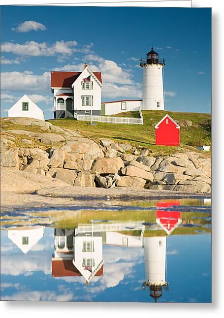 Cape Neddick Light  Reflections Greeting Card by Emmanuel Panagiotakis