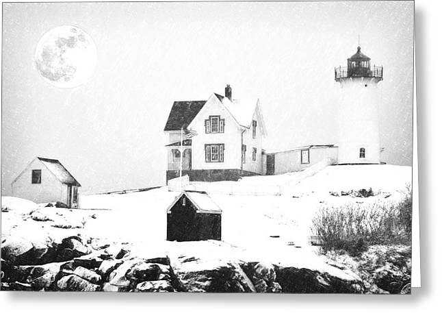 Cape Neddick Light Snow Sketch Greeting Card by MotionAge Designs
