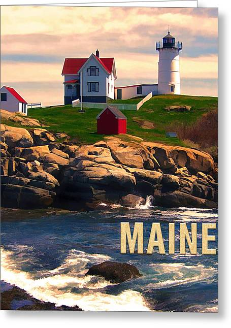 Cape Neddick Lighthouse Maine  At Sunset  Greeting Card by Elaine Plesser