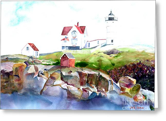 Cape Neddick Lighthouse Me Greeting Card by Carla Palmer